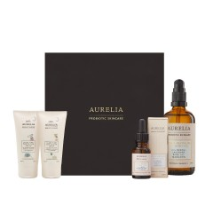 50ml Little Aurelia Sleep Time Top to Toe Cream, 50ml Little Aurelia Sleep Time Top to Toe Wash, 15ml Cell Repair Night Oil with box, 100ml Firm & Revitalise Dry Body Oil in front of Aurelia Probiotic Skincare gift box